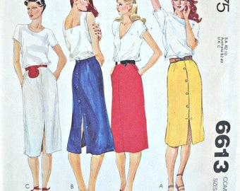McCall's 6613, Misses Skirt Pattern, Sizes 10, 12, 14,  Factory Folded Uncut, Vintage, 1979