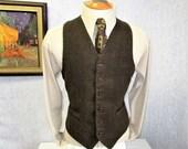 """90s 44"""" XL Murano Herrinbone Tweed Lambswool Vest Waistcoat Brown Olive"""