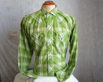 "80s 16 1/2"" Westerner Men's Pearl Snap Shirt Lime Green Plaid"
