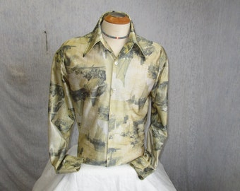 70s L Feelin Free Polyester Men's Big Collar Shirt Green Sailboat Print