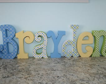 Wood nursery letters, Boys room, Boy room decor, Hanging letters, 7 letter set, Wood letter name, Wooden letters for nursery, Name letters