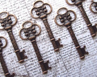 Fraser Antique Copper Skeleton Key - Set of 10