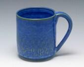 Half Price Coffee Mug, 8 oz, stoneware pottery mug, textured coffee mug shades of blue and brown/Ceramics and Pottery