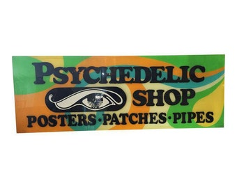 Vintage Handcrafted Iconic San Francisco 'Head Shop' Lucite Psychedelic Shop Sign