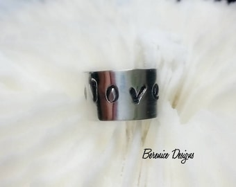 Sterling Silver Ear Cuff Love with Cross and Heart
