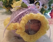 "Ready to ship - Crochet Sugar Easter Egg Diarama Panoramic Cross Large 6"" X 4"" X 4"" Hand Crocheted"