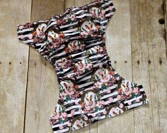 SALE Vintage Easter Bunnies One Size Pocket Cloth Diaper, Reusable Cloth Diaper, One Size Cloth Nappy, One Size Pocket Cloth Diaper, Diaper
