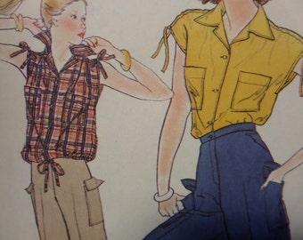 HIGH WAIST PANTS Pattern • Simplicity 8447 • Miss 12 • Walking Shorts • Drawstring Top • Sewing Pattern • Vintage Patterns • WhiletheCatNaps