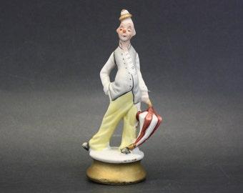 Vintage Ceramic Skinny Clown with Tiny Hat Holding Umbrella (E1517)