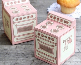 Cupcake Boxes and Inserts - Cupcake Holder - Party Favor Boxes - Pink Favor Boxes Set of 10