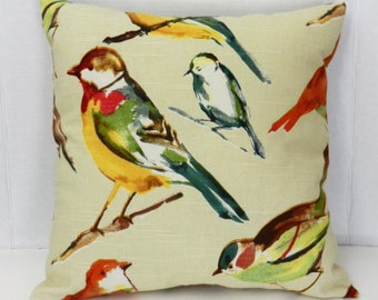 Birds Pillow Cover  Cream, Green, Orange, Purple, Gold, Richloom Cotton Slub  Fabric 18 x 18 inch with invisible zipper closure
