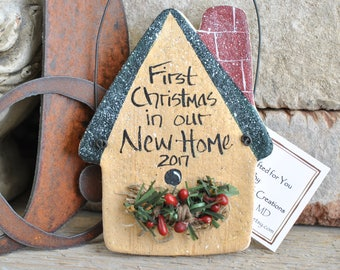First Christmas in our First Home Salt Dough Housewarming Gift Ornament / New Home