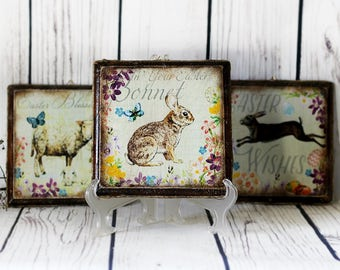 Easter Wall Decor Wooden Signs egg rabbit lamb flowers Easter Wall Art Shabby Cottage Chic Happy Easter gift idea Spring Wall Decor
