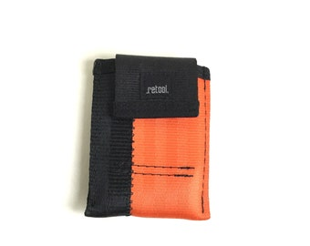 Minimalist Wallet in Orange and Black - Vegan Front Pocket Wallet