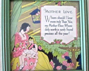 1930 Mother Motto Poem Picture  Mothers Day MOTHER LOVE