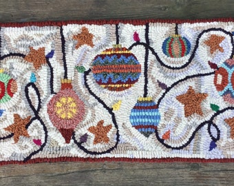 Original, Primitive, Hand Hooked Large Rug by Loop by Loop Studio - Festive Ornaments - FREE SHIPPING to USA with Coupon Code
