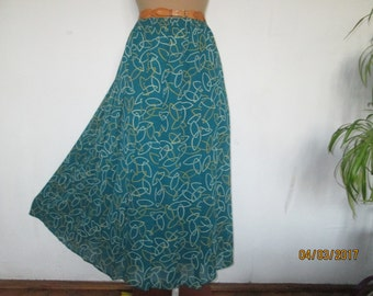 Pleated Skirt / Long Pleated Skirt / Maxi Skirt / Accordion / Pleated Skirts / Size EUR44 / 46 X UK16 / 18 / Elastic Waist Skirt / Green