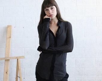 Halloween Sale Striped Knit blouse, Dark Gray