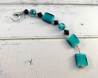 Beaded Fob, Scissor Fob, Key Fob, Purse Fob, Beaded Scissor Fob, Beaded Key Fob, Beaded Purse Fob, Zipper Fob, Teal Fob, Key Fob, Truly Teal
