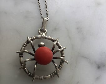 Vintage Spider Neclace Coral Colored Center Stone 800 Silver