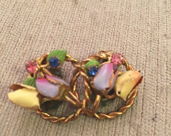 Spring pastels clip circle  flower earrings  1940s with patina