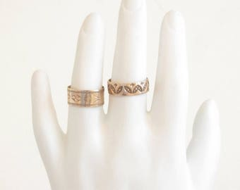 Wide gold wedding band, cigar band, 14k gold stacking ring