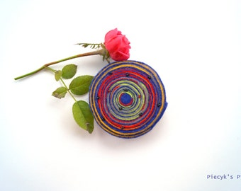 Felt Brooch - Swirly Blue Yellow Red Green Felt Brooch One of a kind