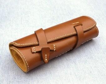 Pen Roll, leather pen roll, leather pen storage, leather pen holder, fountain pen roll, pen case, whiskey color, garny