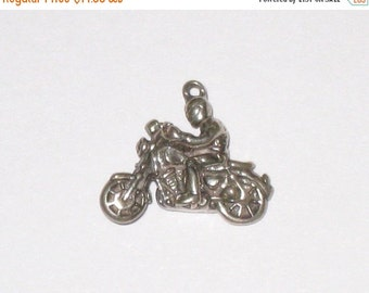 Motorcycle and Rider Vintage SHUBE'S 3-D Sterling Silver Charm / 3.1 Grams / Us Shipping Included
