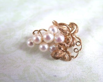 14k Gold and Pearl Grape Cluster Brooch