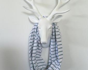 Stripe Infinity Scarf - Olive Green & White - Cotton Jersey Blend Knit