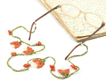 Glasses Strap- Handmade Crochet Eyeglass Accessories, Orange Tulip Flower Eyeglass Holder, Crochet Eyeglasses Strap, Bohemian Jewelry