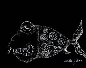Sea Mob Boss-original pen and ink drawing on Black paper-sea life-ocean art-coastal-beach house-decor-home-wall art-black and white-fish art