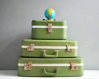 Vintage Green Suitcase Set - Vinyl Suitcase Set