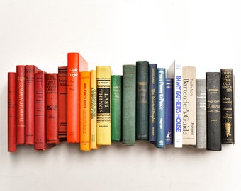 Collection of Vintage Rainbow Colored Books