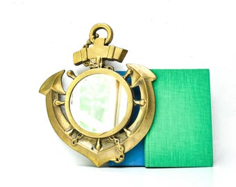 Vintage Brass Anchor Wall Mirror - Nautical Decor