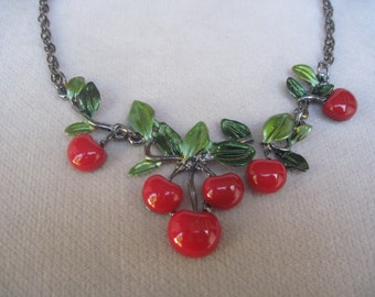 Luscious and Delicious Modest n Petite Red Cherry Necklace