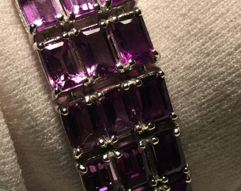 Handmade Genuine Purple Amethyst Rhodium Finished 925 Sterling Silver Tennis Bracelet