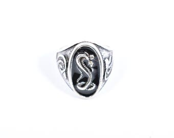 Vintage 1980's Native American Style Cobra Snake inlay Men's Ring