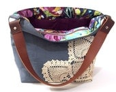 Ready to Ship Grey Linen Hobo Bag with Vintage Doily