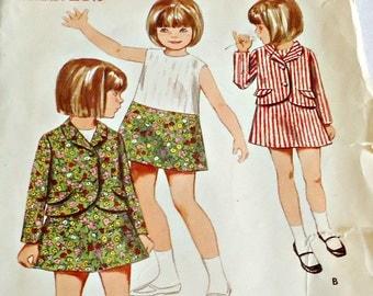 Butterick 4463 Sewing Pattern Girl's Jacket & Sleeveless Dress Size 5 1960's