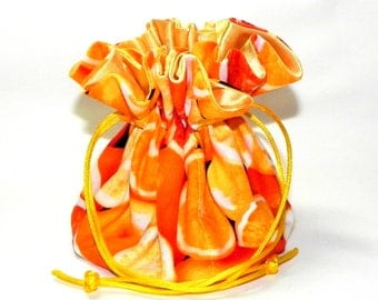 Jewelry Drawstring Travel Bag - Organizer bridal Pouch  -  Orange slices - Fruits