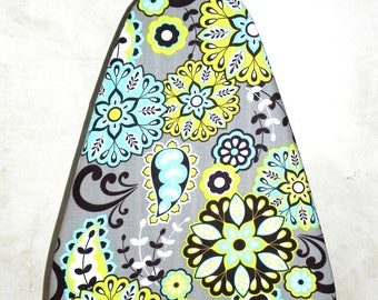Tabletop Ironing Board Cover - Floral in Lime green and Turquoise -  Laundry and Housewares