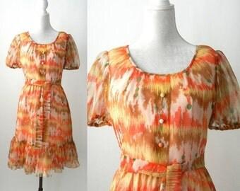 20% OFF Vintage 1960 Dress, Orange 60s Dress, Boho Orange Dress, 1960 Summer Dress, Summer Chiffon Vintage Dress, Retro Orange Dress, Dolman