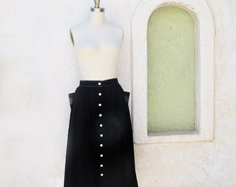Vintage 50s Cotton Skirt, 1950 Gathered Skirt, 50s Pocket Skirt, Button Skirt, Black Full Skirt