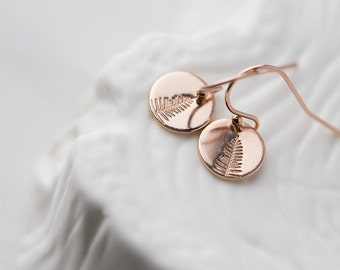 Tiny Leaf Earrings Rose Gold Filled, Summer Outdoors Hand Stamped Jewelry Gift for Her, Small Rose Gold Dangle Earrings Handmade Burnish