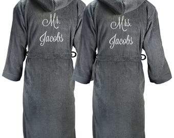 Matching Hooded terry bathrobes, Mr. and Mrs. matching bathrobes, couples bathrobes, wedding gift, gift for couples, gifts for newlyweds