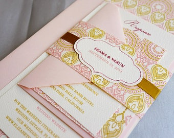Indian Wedding Invitation. Henna Party Invitation. Moroccan theme wedding invitation. Blush and Gold Invitation. Hindu Wedding – SAMPLE