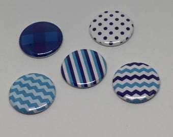 """1"""" Flat back Buttons Blue Chevron Mixed Patterns Hollow back Pin back button"""