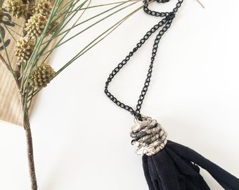 Tassel necklace, fabric necklace, paper necklace, recycled paper jewelry, recycled fabric jewelry, black fringe pendant, quirky necklace
